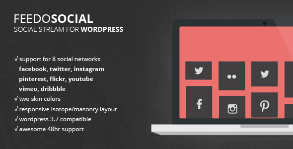Feedo is a premium social stream and feed plugin for WordPress 3+ websites. It generates a feed of your favourite social network accounts. Supported social net