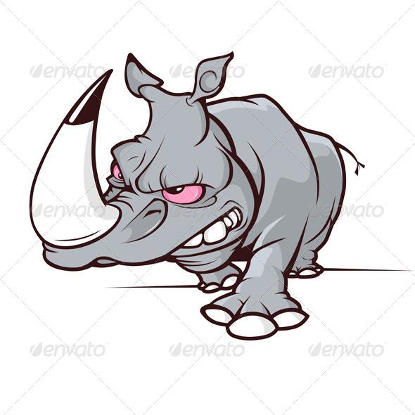 GraphicRiver Evil Cartoon Rhino 5985167