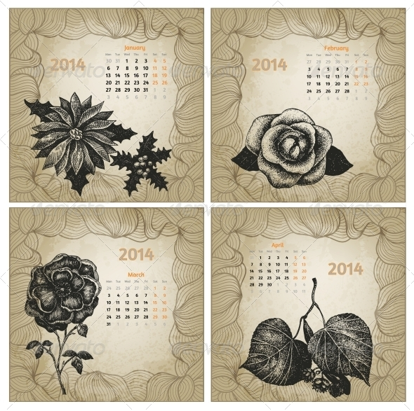 GraphicRiver Vintage Style 2014 Hand Drawn Vector Calendar 5985174
