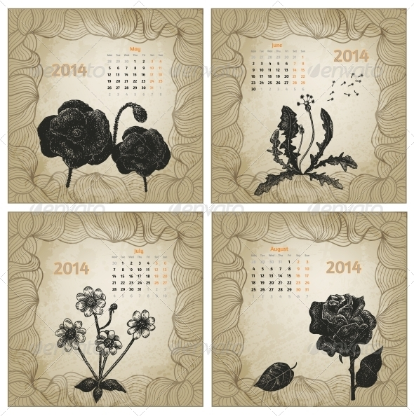 GraphicRiver Vintage Style 2014 Hand Drawn Vector Calendar 5985231
