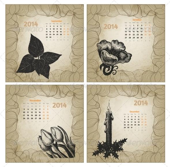 Vintage Style 2014 Hand Drawn Vector Calendar