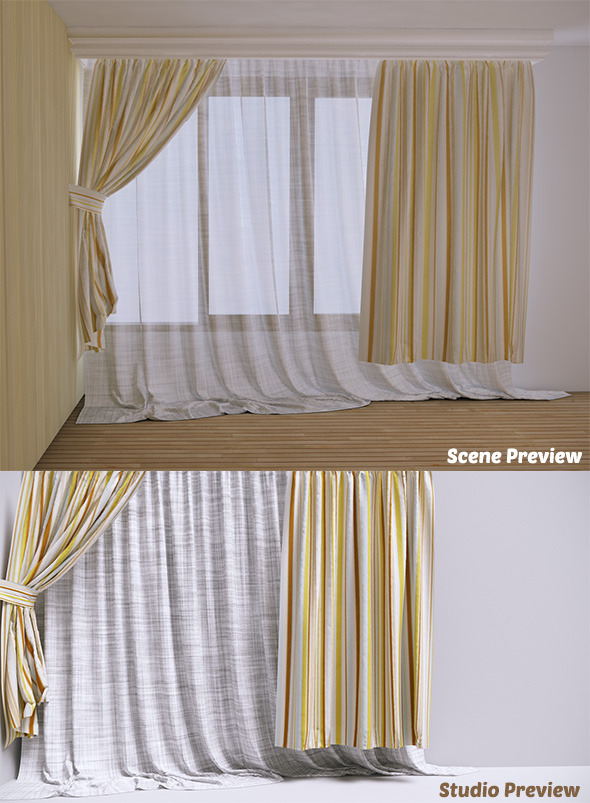 Curtain - 2 (VrayC4D) - 3DOcean Item for Sale