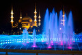 Colored Fountain and The Blue Mosque in Istanbul at Night - PhotoDune Item for Sale
