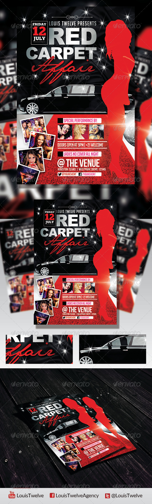 Red Carpet Affair 3 Flyer Template Graphicriver