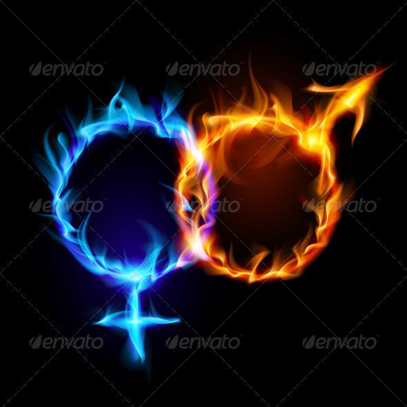GraphicRiver Mars and Venus Fire Symbols 5986582