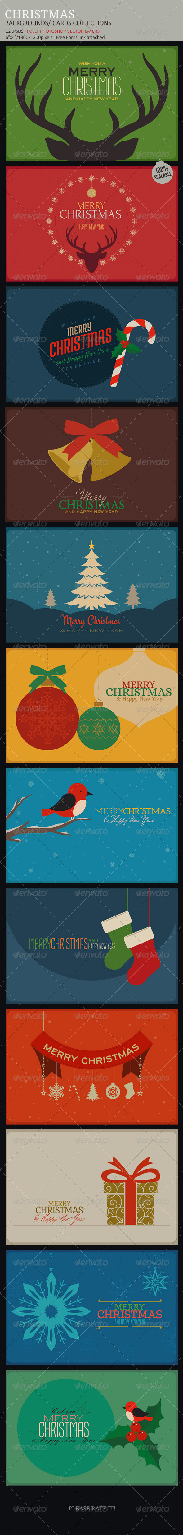 Christmas Backgrounds-Cards Collection - Backgrounds Graphics