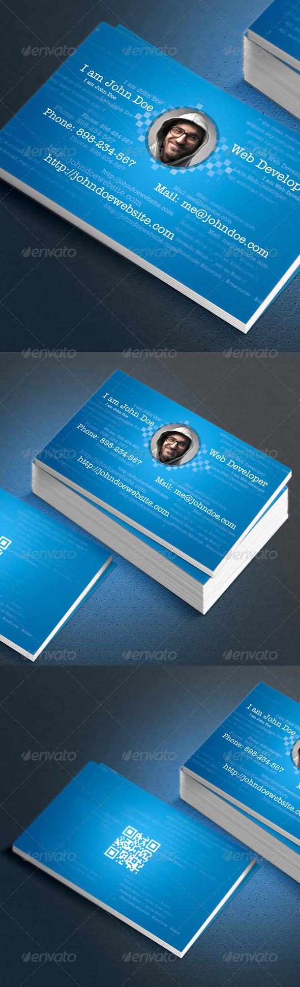 Web Developer Coder FreelancerBusiness Card Design