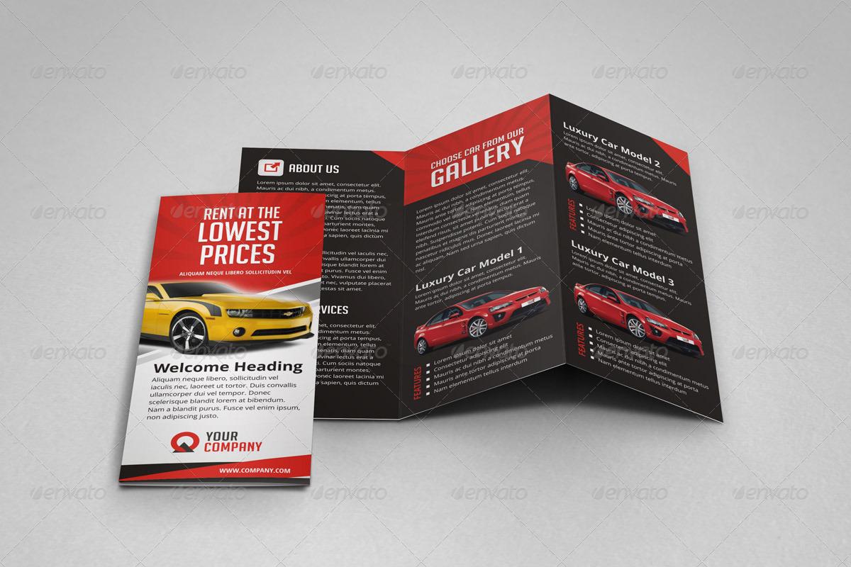 car brochure template - creative car rental trifold brochure template by jbn
