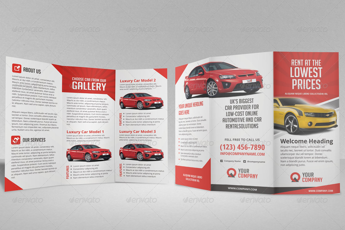 car brochure templates - creative car rental trifold brochure template by jbn