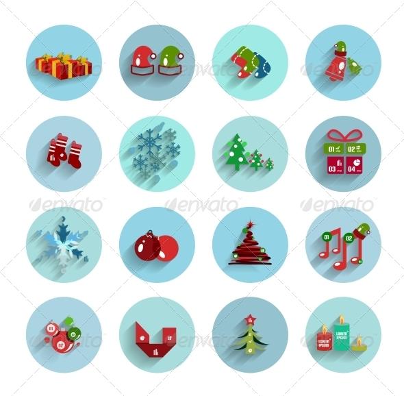 GraphicRiver Christmas Flat Vector Icon Set 5987889