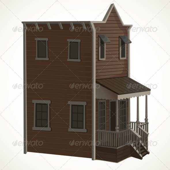 GraphicRiver Wooden House in the Wild West 5987938