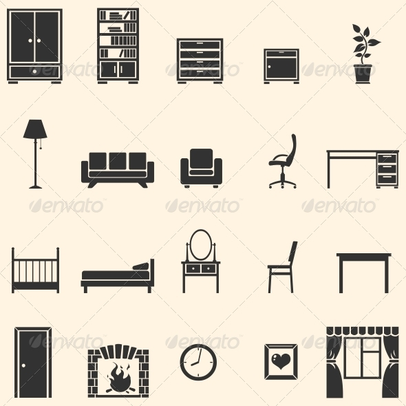GraphicRiver Vector Set of 20 Furniture Icons 5988048