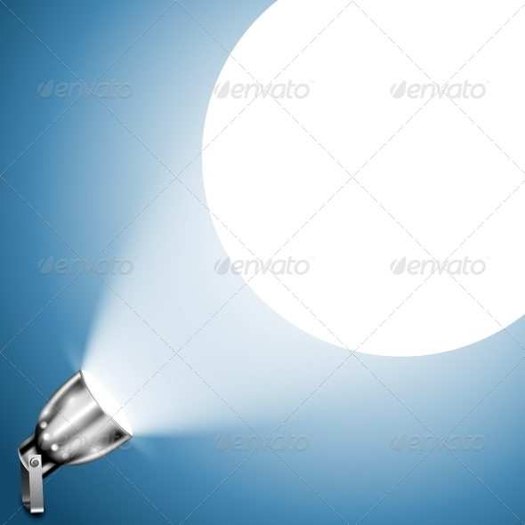 GraphicRiver Metallic Spotlight Projecting on Blue Wall 5988288