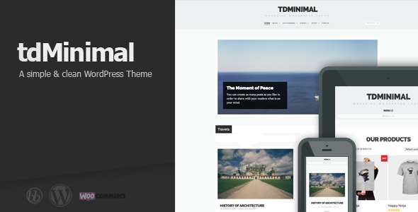 tdMinimal WordPress Theme is a fully responsive theme that is ideal for blogs, magazines or minimal portfolios. tdMinimal theme is compatible with bbPress and W