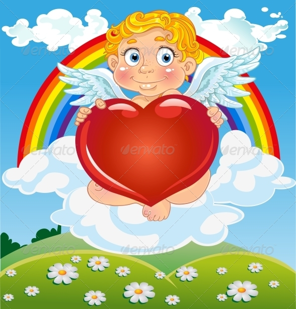 GraphicRiver Cupid with Red Heart on Cloud Near Rainbow 5988383