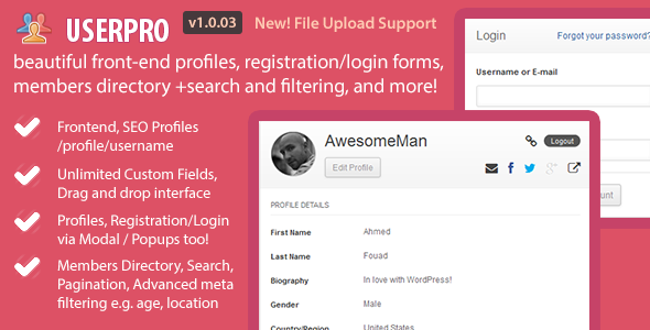 Beautiful User Profiles, block backend access, member directory with search and pagination, sort and filter users, front-end customizable registration/login for