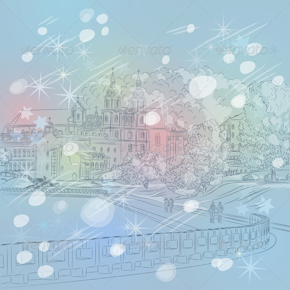 Vector Winter Christmas Sketch of a Old Town - Buildings Objects
