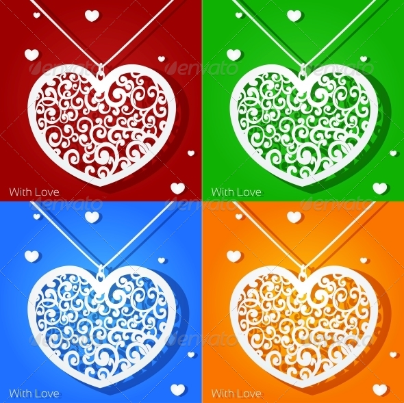 GraphicRiver Openwork Heart Applique Paper in Different Colors 5988924