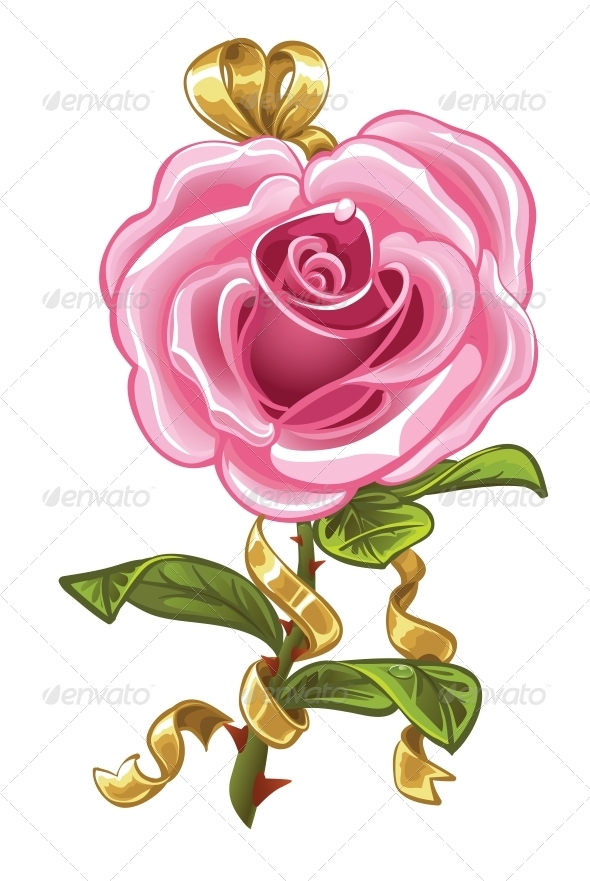GraphicRiver Pink Rose in the Shape of Heart and Gold Bow 5988987