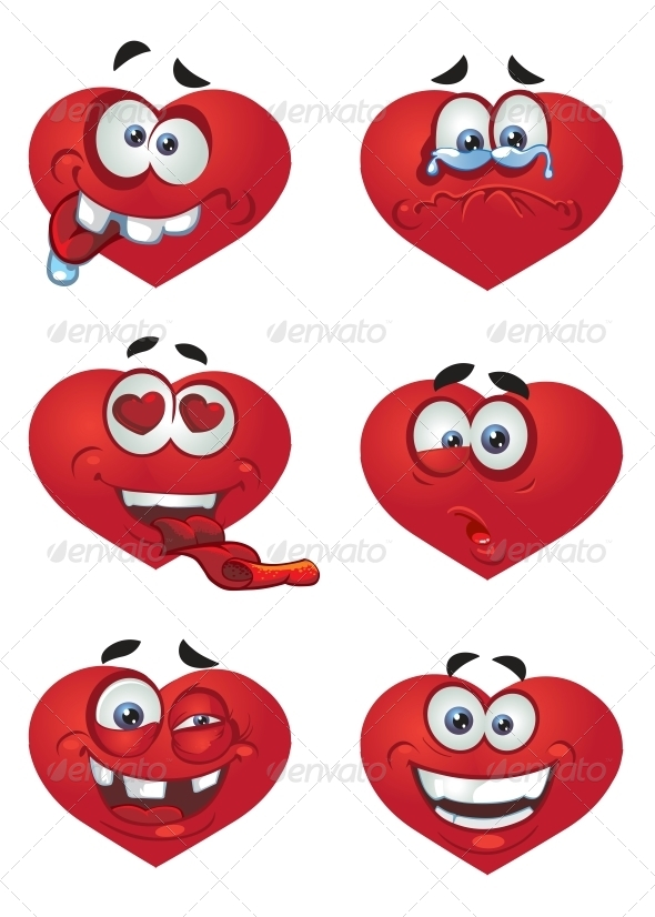 GraphicRiver Set of Hearts with Smiles 5989044