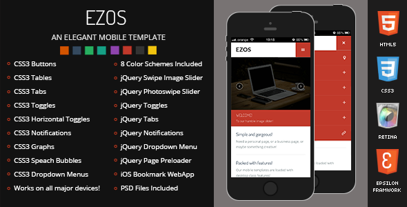Ezos Mobile Retina | HTML5 & CSS3 And iWebApp