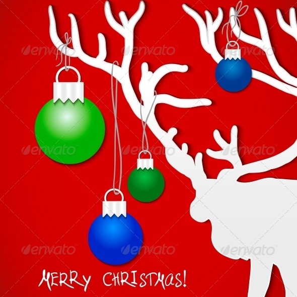 GraphicRiver Christmas Background with Deer 5989103