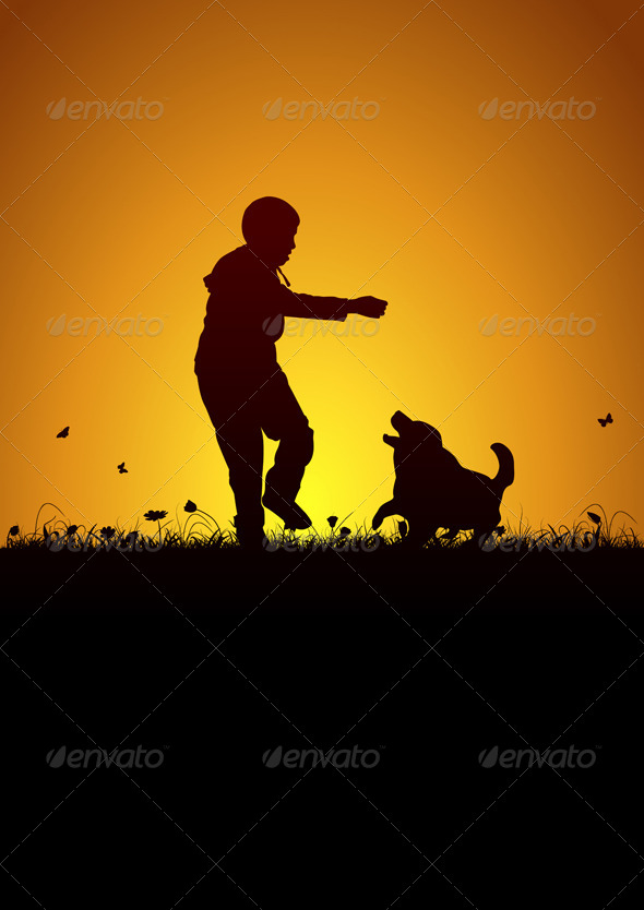 GraphicRiver Kid Playing with Dog 5989184
