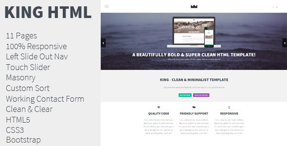 King - Unique HTML Template - Creative Site Templates