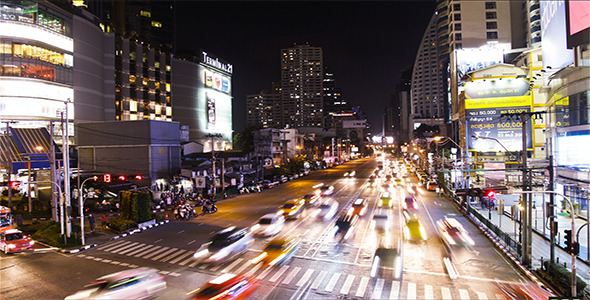 Night Traffic Jam In Busy Bangkok TImelapse 2