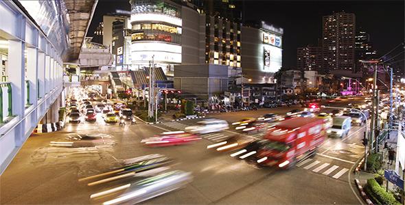 Night Traffic Jam Timelapse in Busy City