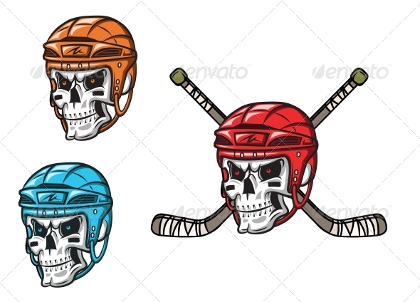 GraphicRiver Skull with Ice Hockey Ammunition 5990003