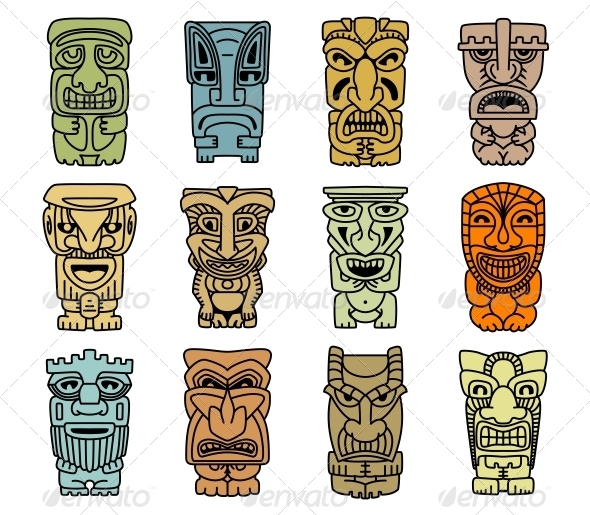 GraphicRiver Tribal Masks of Idols and Demons 5990019