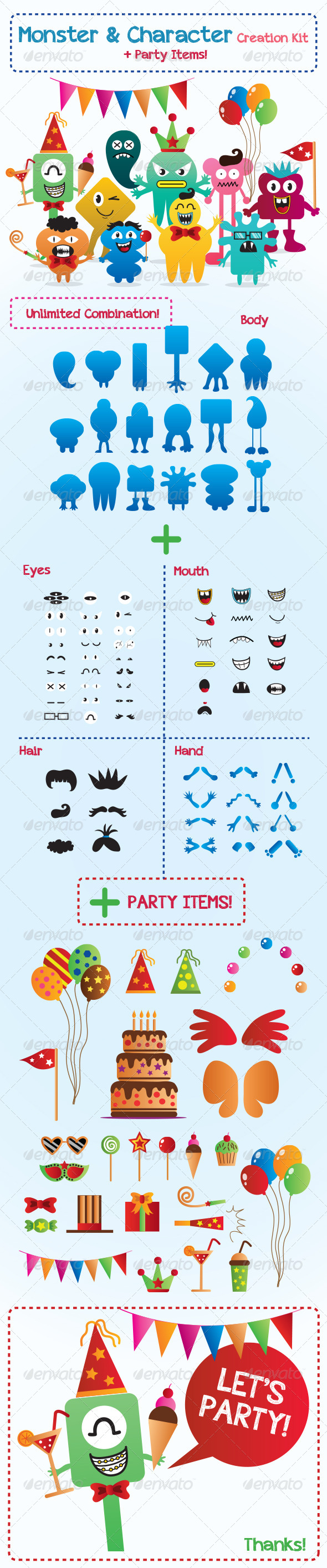 GraphicRiver Monster and Character Creation Kit with Party Items 5984405
