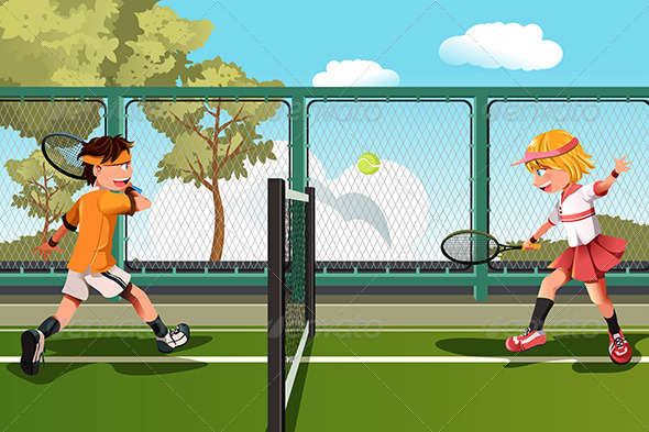 GraphicRiver Kids Playing Tennis 5990302