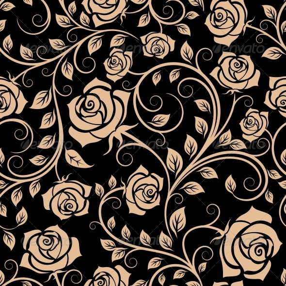 GraphicRiver Seamless Pattern with Rose Flowers 5990373