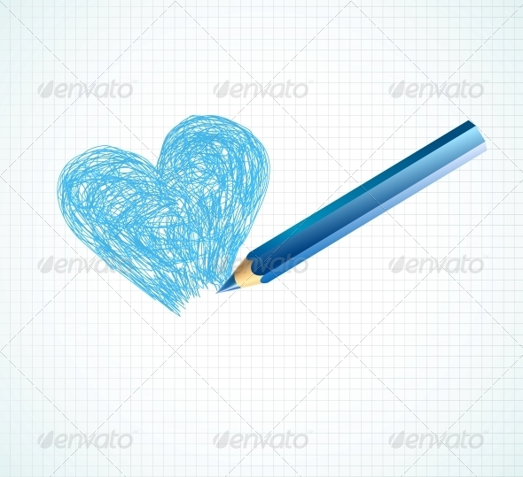 GraphicRiver The Blue Heart not Finished by a Pencil 5990380