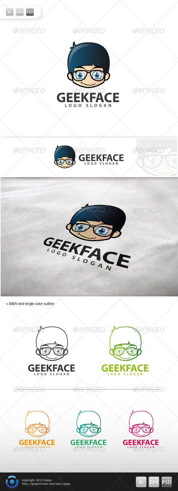GraphicRiver Geek Face Logo 03 5990477