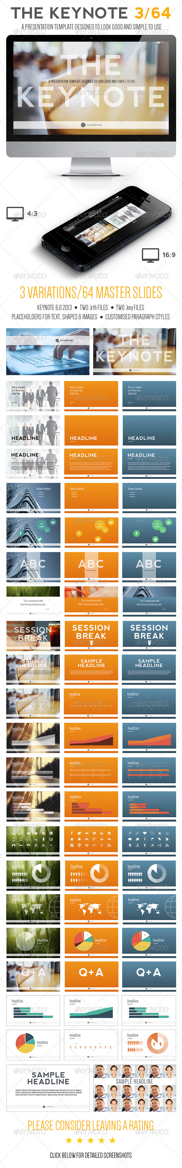 GraphicRiver The Keynote 3 64 Presentation Template 5990494