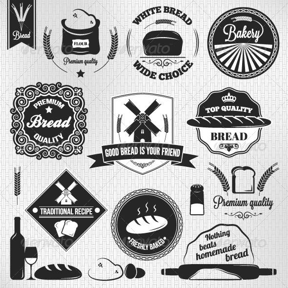 GraphicRiver Bread Set of Vintage Labels 5990496