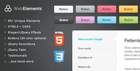 Web Elements - Buttons, Tabs, UI - CodeCanyon Item for Sale