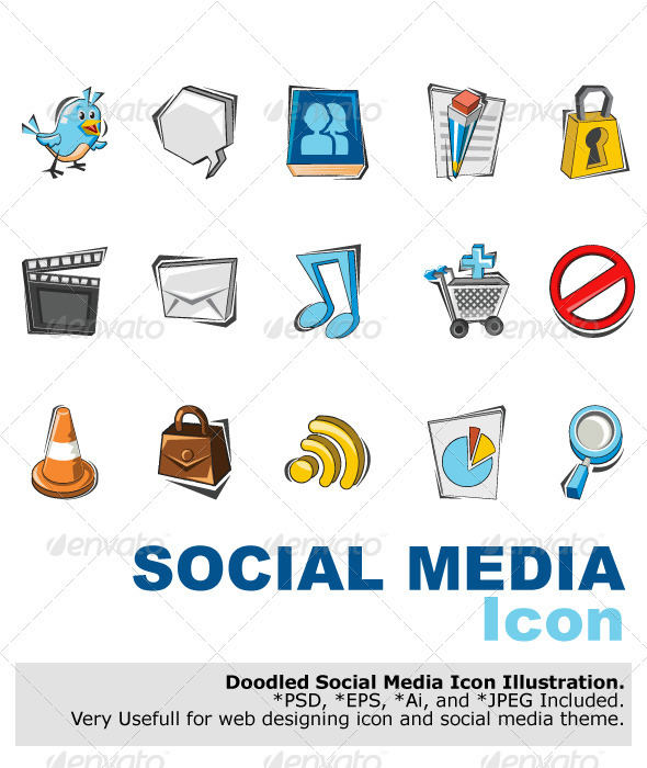 Doodle Social Media Icon set.  - Media Technology