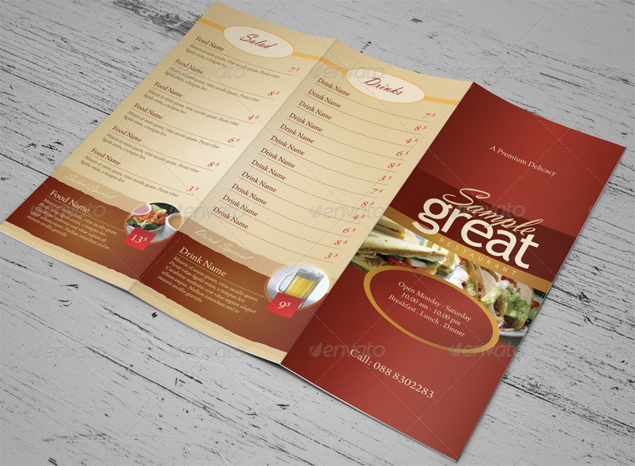Restaurant cafe take out menu template by kinzi21 for Take out menu
