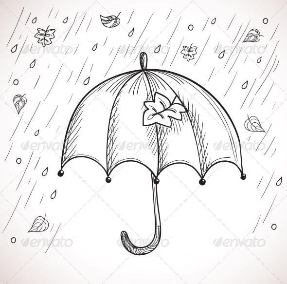 GraphicRiver Sketch of an Umbrella in the Rain 5991289