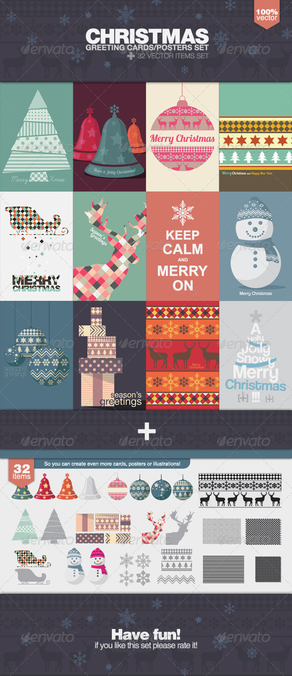 GraphicRiver Christmas Greeting Cards and Posters Set 5991377