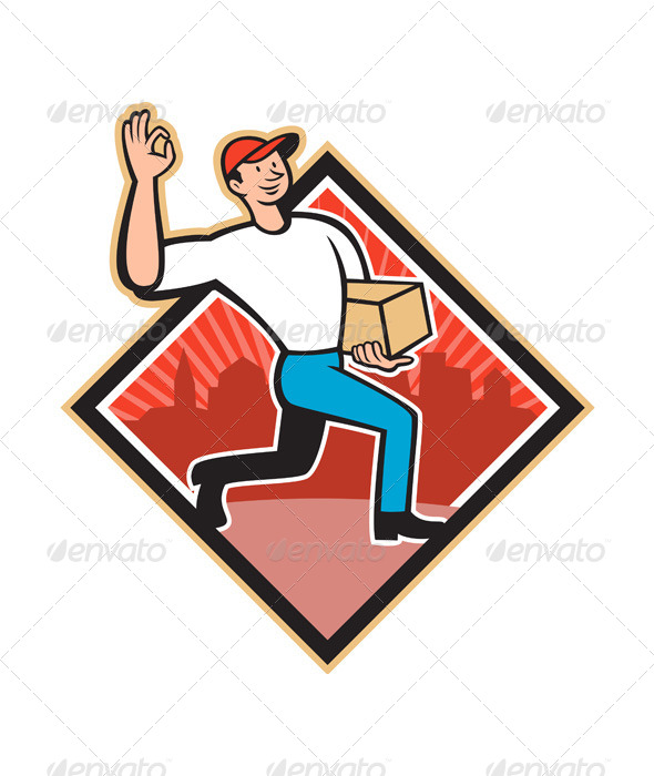GraphicRiver Delivery Worker Delivers Package Cartoon 5991554