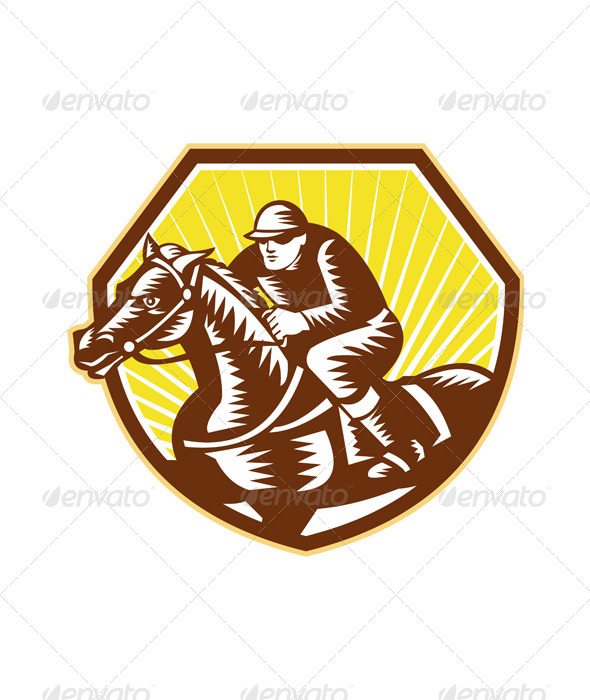 Thoroughbred Horse Racing Woodcut Retro