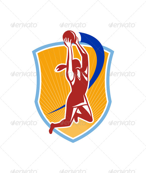 GraphicRiver Netball Player Rebound Ball Retro 5991577