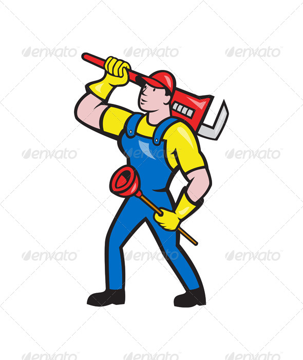 GraphicRiver Plumber Carrying Wrench Plunger Cartoon 5991581