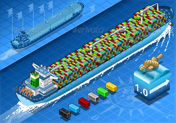 GraphicRiver Isometric Cargo Ship with Containers in Navigation 5991691