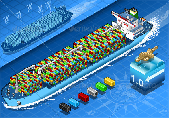 GraphicRiver Isometric Cargo Ship with Containers in Navigation 5991716